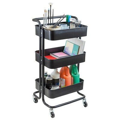 Metal 3 Tier Art & Craft Storage Trolley with Wheels in Black