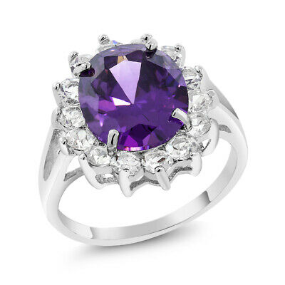 Stunning 12x10mm Oval Purple and White Cubic Zirconia CZ Ring