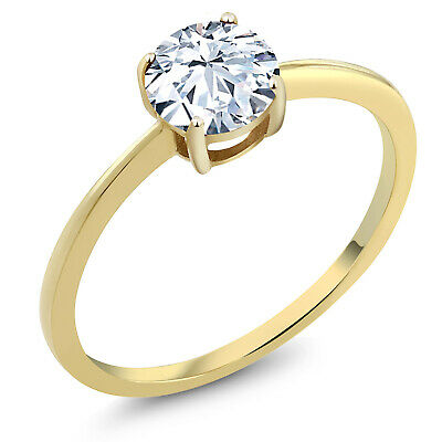 10K Yellow Gold 1.50 Ct Round White Zirconia Solitaire Engagement Ring