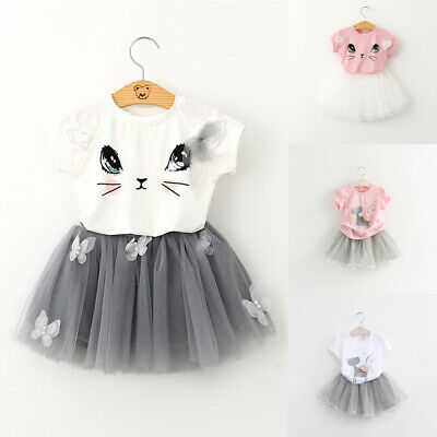 Set Girls' T-shirt Summer Casual Sleeve Skirt Tulle Outfit Cat Printed Short
