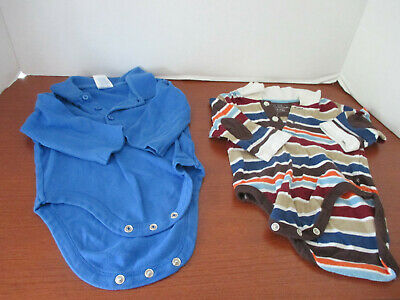 THE CHILDREN'S PLACE~Lot of 2 LONG SLEEVE POLO BODYSUIT SHIRTS~Boys 3-6 Months