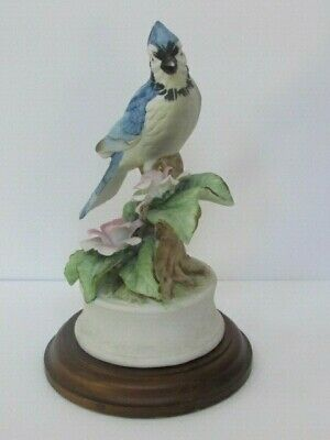 Blue Jay Porcelain Bird Figurine - Royal Crown - with wood stand