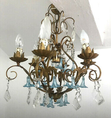 Beautiful Original Vintage French Toleware And Crystal Chandelier - Blue Glass
