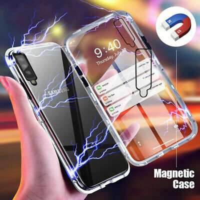 For Samsung Galaxy A70 A50 A7/9 2018 360° Metal Bumper Tempered Glass Case Cover