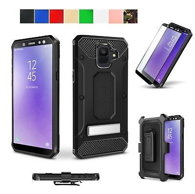 For Samsung Galaxy A6 2018 Case Cover Belt Clip Kickstand Glass Screen Protector