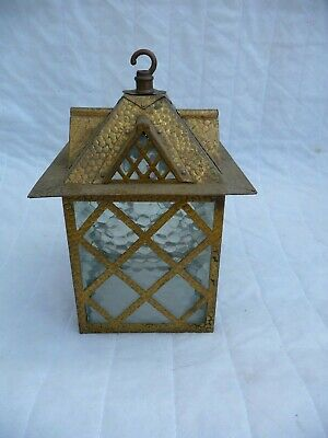 Antique !930s Brass/Copper Porch Lantern Architectural Roof With Windows Diamond