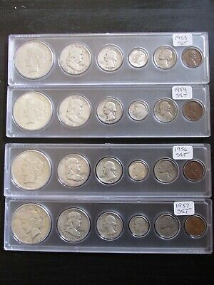1953 thru 1957 Date Sets with Peace Silver Dollar