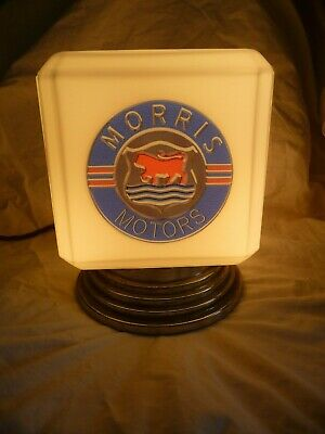 Antique Art Deco Advertising Lamp Chromed Brass Opal Glass Morris Motors Project