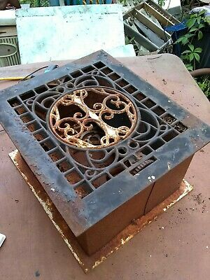 Old Stove pipe floor vent register cast iron / tin.