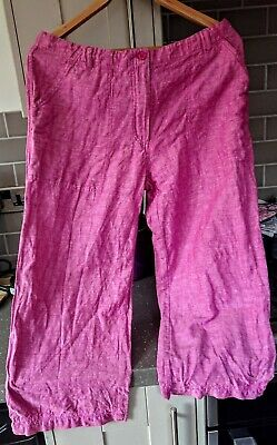 Fat Face Pink Linen Trousers Size 14