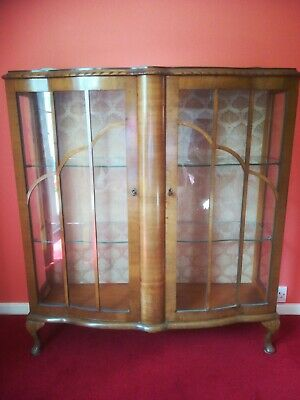 1930s Art Deco Glazed Walnut Display/China Cabinet, Bow Fronted, Queen Anne Legs