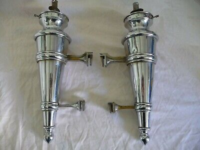 Antique Pair Large Chromed Brass Flambe Torch Wall Lights 1920s/30s Rare Project