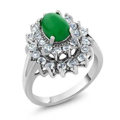 1.68 Ct Round Cubic Zirconia CZ and 8X6MM Oval Green Crystal Ring