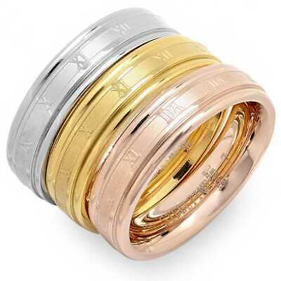 Rose Yellow Gold and Silver Three Ring Tri-Color Roman Numerals Band Set