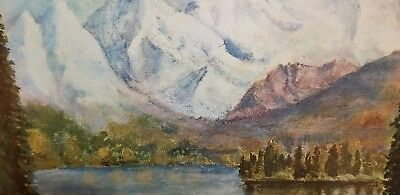 """Dwight D. Eisenhower """"Mountain Lake""""  Painting Reproduction 1968 Vintage Frame"""