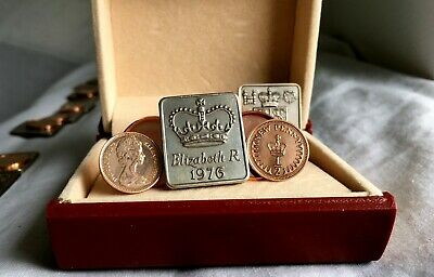 YOUR CHOICE OF 1971 to 1984 NEW HALF PENCE MINT COINS IN ROSE GOLD CUFFLINKS .A5