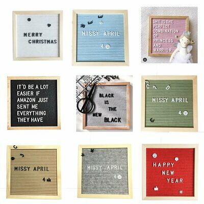 Compact Felt Letter Board Wooden Frame Changeable Symbols Numbers NE