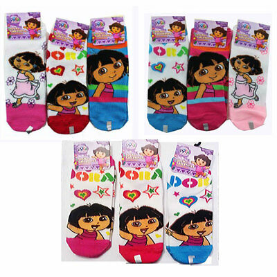 DORA EXPLORER /& BOOTS 3-Pack Girls Low Cut Ankle Socks NWT Kids Ages 1-4 or 5-10