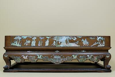Rare Antique Chinese Wood Stand with Mother of Pearl Inlay.