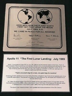 APOLLO 11 NASA LUNAR landing plaque -Stainless S With engraved explanation plate
