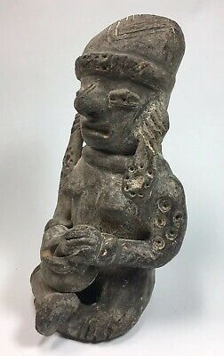 Ancient Pre-Columbia Maya Inca Aztec Pottery Female Mortar Pestle Incense Statue