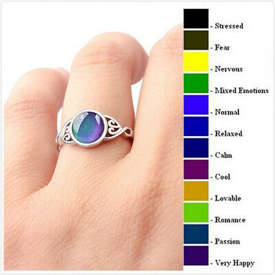 Fashion Mood Temperature Color Change Ring 925 Silver Women Wedding Jewelry 6-10