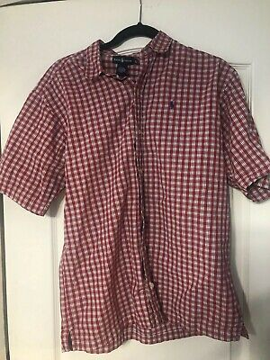 Polo Chaps Ralph Lauren Red/Maroon plaid boys kids sz XL SHIPS FREE