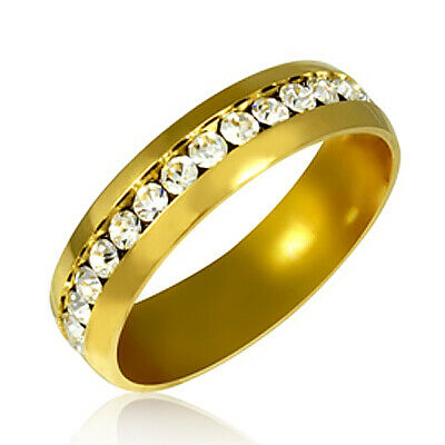 Gold Color Stainless Steel Eternity Ring with Cubic Zirconia