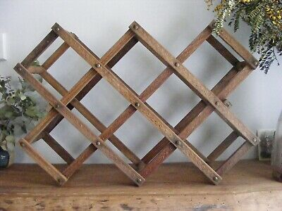 Retro / Vintage Expandable Accordion Wooden Wine Rack - holds up to 10 bottles