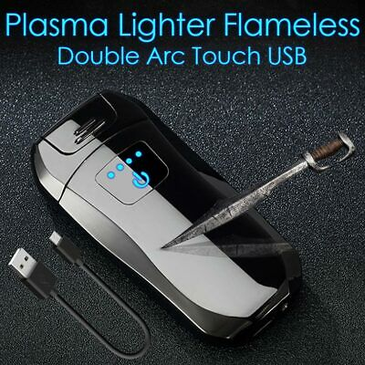 USB Electric Metal Cigarette Lighter Windproof Flameless Double Arc Plasma Touch