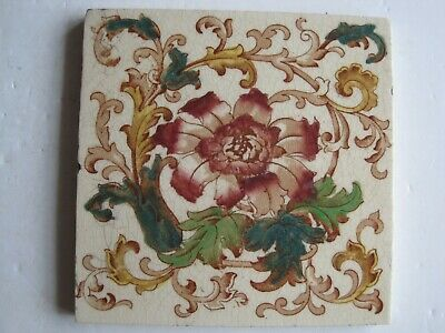 Antique Transfer Print & Tint Red Floral Wall Tile - H. Richards C1902-09