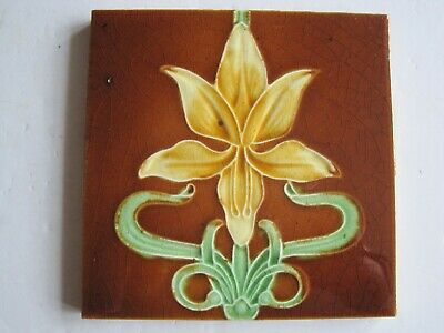 ANTIQUE MOULDED & MAJOLICA GLAZED ART NOUVEAU TILE - J H BARRATT? - c1905 #3
