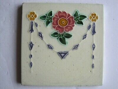 ANTIQUE ART NOUVEAU MOULDED & GLAZED TILE - LEA & BOULTON C1896-1902 No.1210