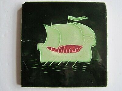 Antique Art Nouveau Moulded Stylised Long Ship Tile - T & R Boote  C1906/7