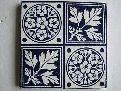 Antique Victorian Transfer Print Tile - Blue Floral & Leaves Design  - Maw C1880