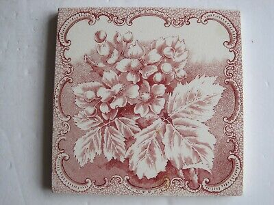 Antique Victorian Transfer Print Tile - Pink Flowers & Berries - Lea & Boulton