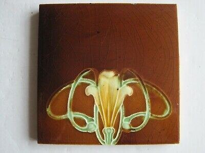 ANTIQUE MOULDED & MAJOLICA GLAZED ART NOUVEAU TILE - J H BARRATT? - c1905 #4