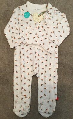 Mothercare Little Bird By Jools Oliver Rainbow Baby Grow & Hat 9-12 🌈🍄🌈