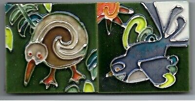 2 x Hand Painted Ceramic Tiles New Zealand Kiwi and Fantail Mosaic
