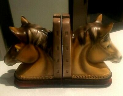 VINTAGE 1960's KITSCH CERAMIC HORSE BOOKENDS MADE IN JAPAN