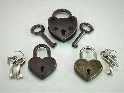 Old Vintage Antique Mini Padlock Key Lock Heart Shaped (Assorted color)Set of 3