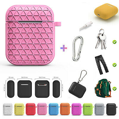 For Airpods Case Silicone Cover Wireless Bluetooth Protective Pouch With Buckle