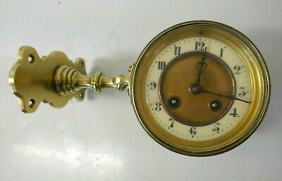 Antique French Brass & Ceramic Angled Pendulum Wall Clock Architectural Piece