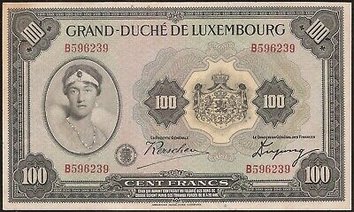 LUXEMBOURG 100 FRANCS (1934)  P:39a  XF