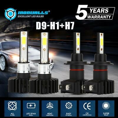 H1+H7 LED Headlight Kit Hi-Lo Beam Bulbs for Hyundai Sonata 02-08 Elantra 01-06