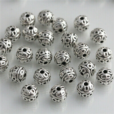 25pcs 8mm Tibet silver spacer Loose Beads Bracelets Charms Jewelry DIY Findings