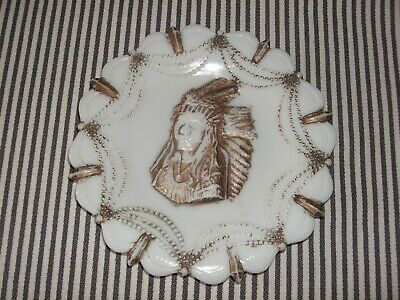 Vintage Antique Eapg Milk Glass Plate Indian Chief Festooned Beaded Shear Mark