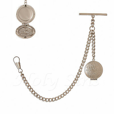 Brand New Silver Colour Albert Single Pocket Watch Chain With Locket