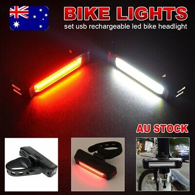 Rechargeable Bike Light headlight Set USB LED Front Bar rear Tail Wide Beam lamp
