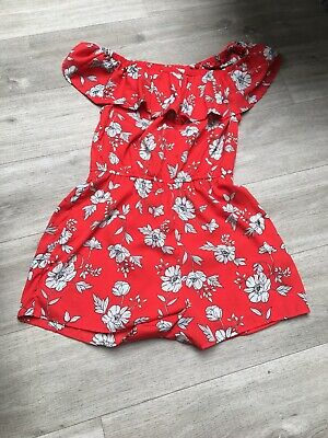Newlook 915 Generation Red Floral Off The Shoulder  Playsuit Age 15 Years